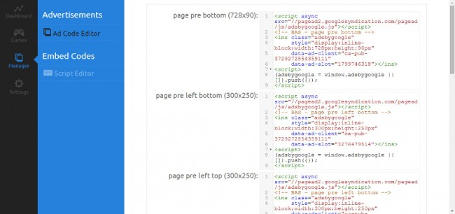 Ad Code Editor with a built-in code highlighter.