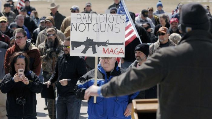 ban idiots not guns sign at a rally where activists are going on offense