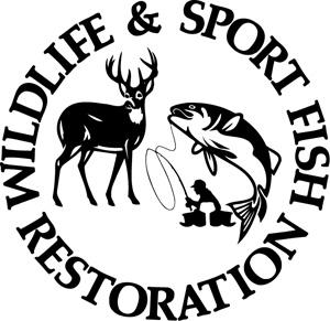 Wildlife and sport fishing restoration black and whitelogo