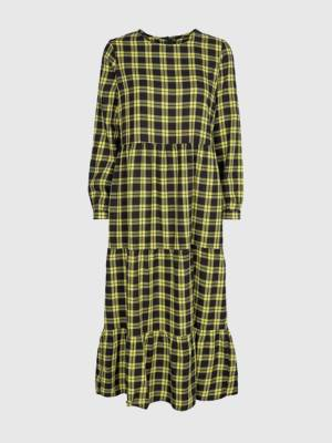 ONLY LONG SLEEVED CHECKED MIDI DRESS
