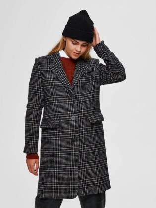 Rent SELECTED FEMME CHECKED SINGLE BREASTED COAT