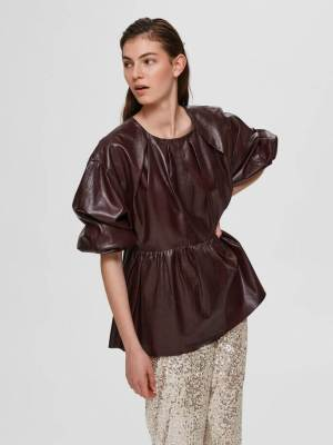 Rent Valentine's SELECTED FEMME LAMB LEATHER BLOUSE