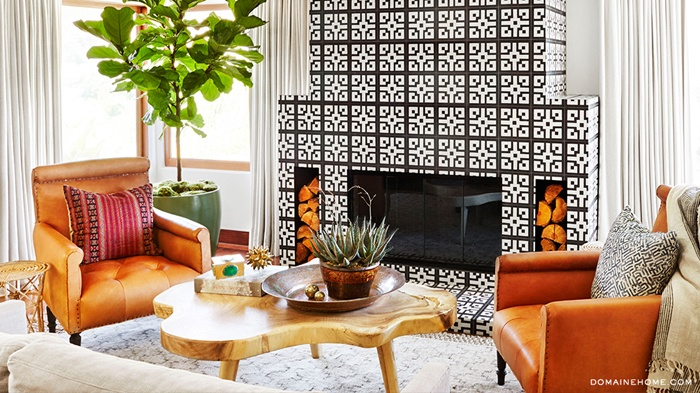 Dream Home Black and White Tiled Fireplace in Living Room