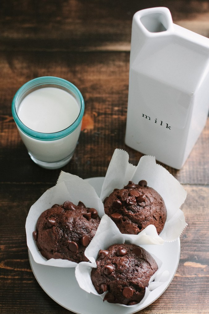 Artisan bakery style chocolate muffins