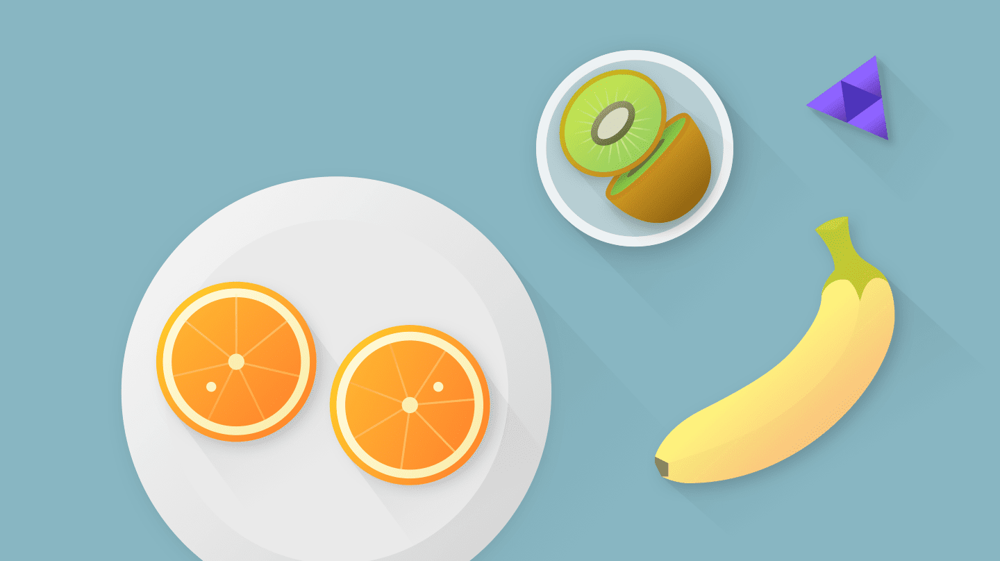 Plates of fruit.