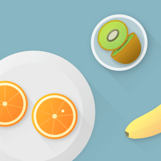 fruits: oranges, kiwis, and bananas