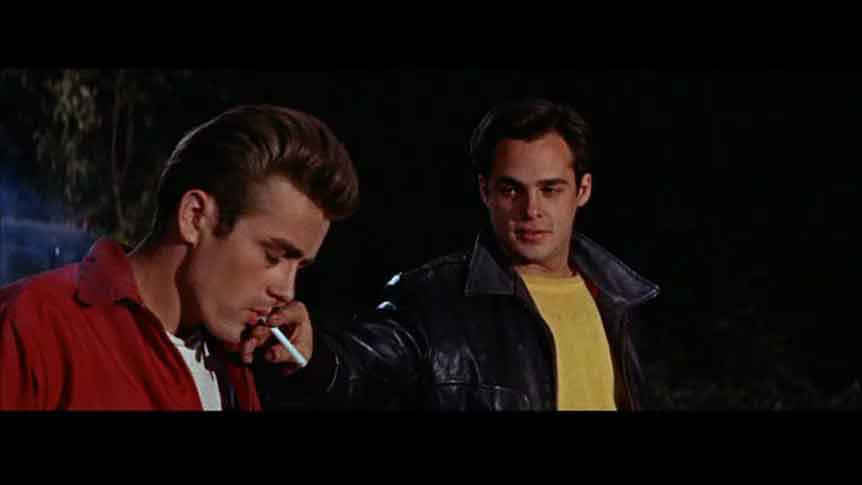 A scene feature James Dean and the bully in A Rebel Without A Cause.