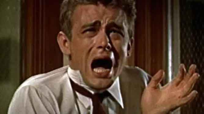 A very dramatic scene of an upset character in the movie Rebel Without A Cause