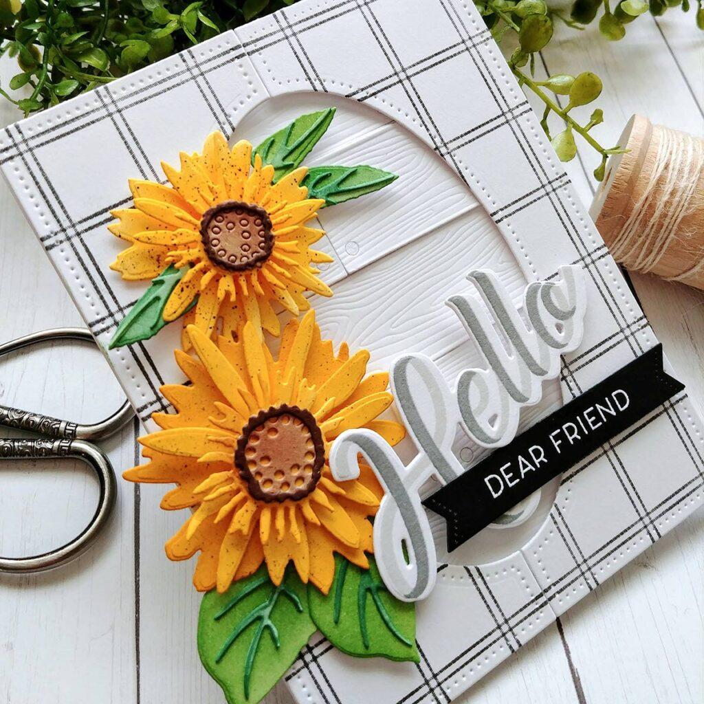 burlap rustic plaid tartan Sunflower greetings card for her birthday anniversary thinking of you card wildflowers