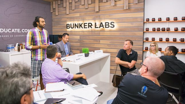People are seen meeting in Bunker Labs' office