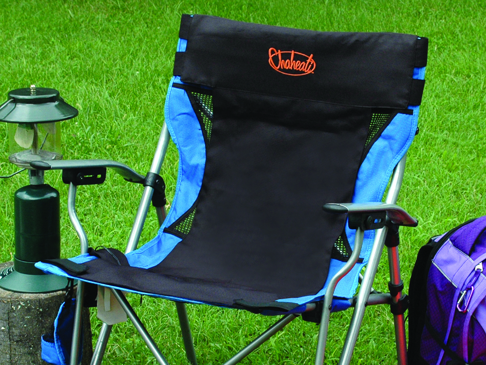 A blue camping chair gets an upgrade thanks to Chaheati's travel heated seat cover