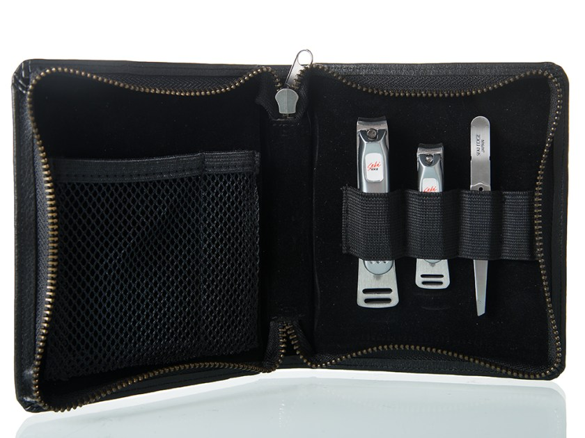 A 4 piece beauty tool kit with toenail clippers from Seki Edge is seen in a zippered pouch