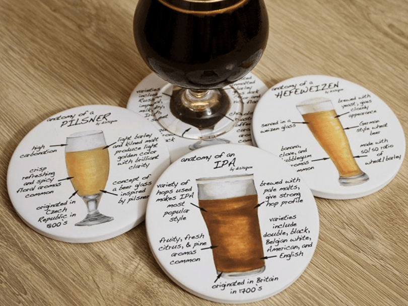 The anatomy of different beer styles is artfully depicted on ceramic coasters from Dishique