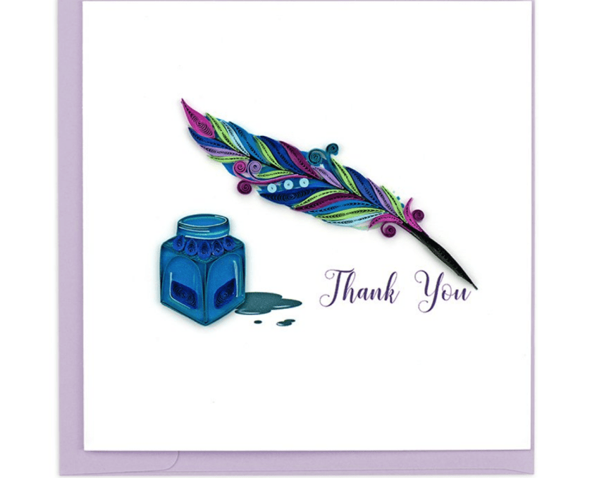 A quilled card with an actual quill on it that says 'Thank You' from Quilling Card