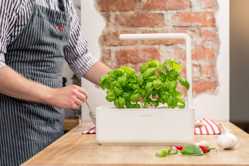 A man is seen cooking in a kitchen next to a Click & Grow Smart Planter filled with fresh basil plants