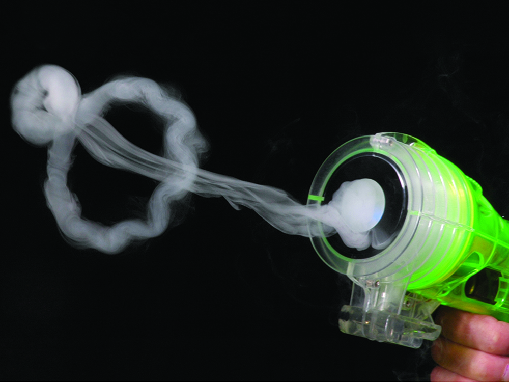 A vapor blaster from Zero toys is seen being used