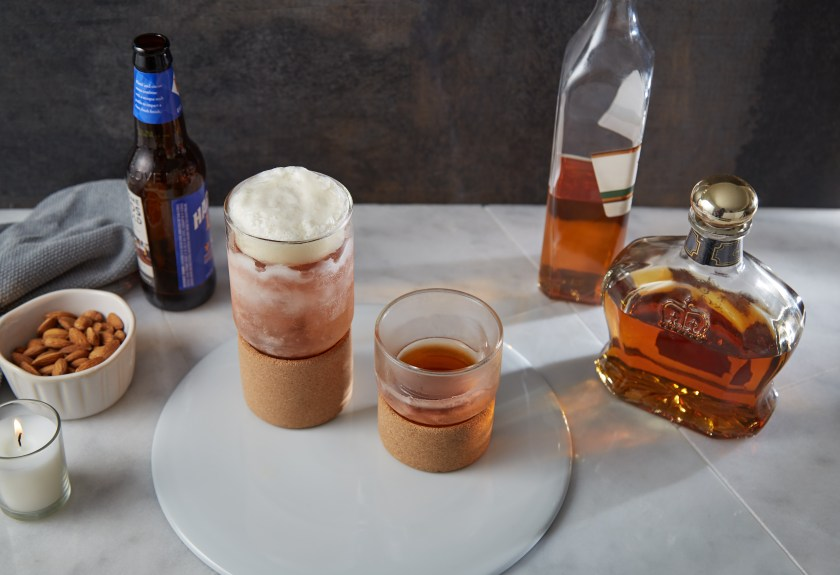 Beer and whiskey are seen chilling in THAT! Inventions double-walled chilling glasses
