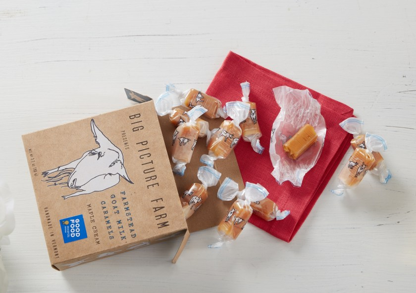 A box of Maple Cream goat milk caramels from Bug Picture Farm