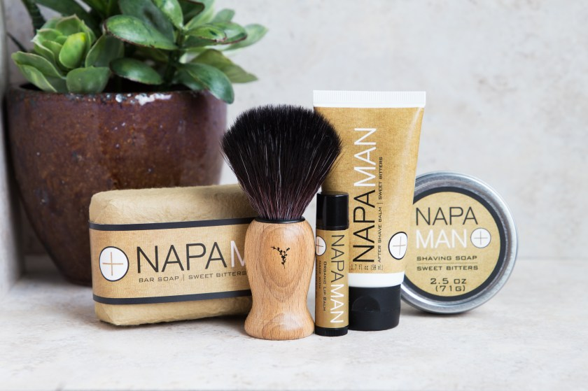 A shaving soap and aftershave gift set from Napa Soap Company is seen on a counter