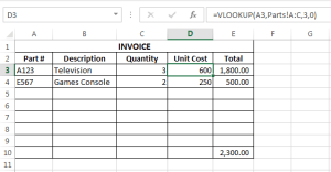 VLOOKUP INVOICE
