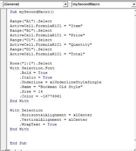 Macro showing formatting Fonts