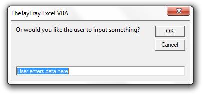 excel vba input box