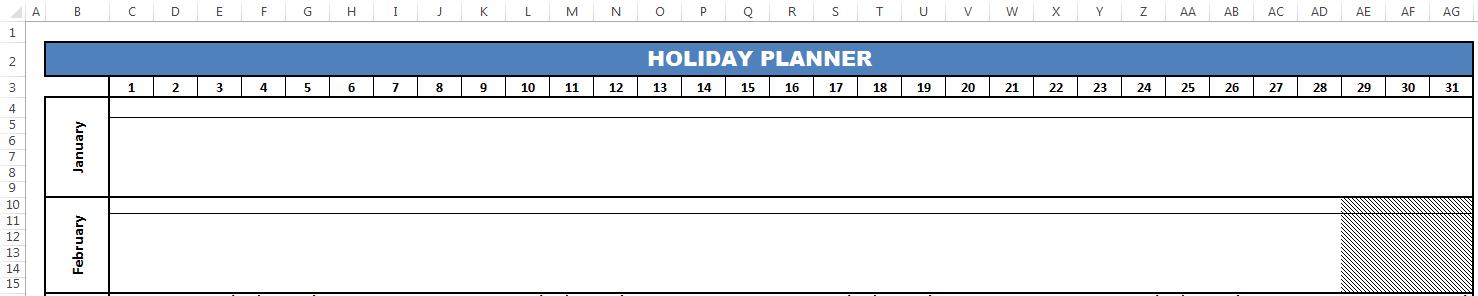 Header layout of planner