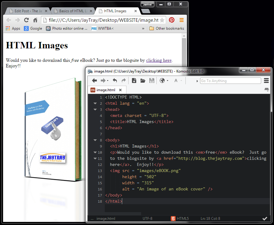 html images code with link and emphasis