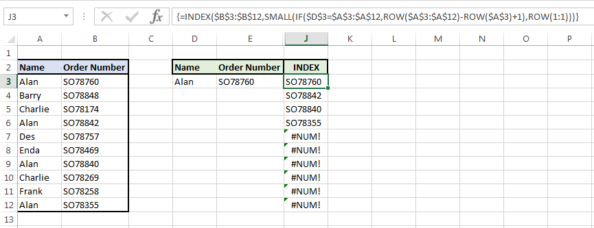 Image showing our formula with the index which together equates to a vlookup with multiple values