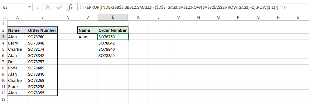 Image showing a formula that can be used as a vlookup with multiple values
