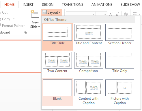 Image showing how to set powerpoint layout as blank