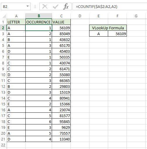 An image showing how we will use the countif formula to help create a vlookup to retrieve the second or third match