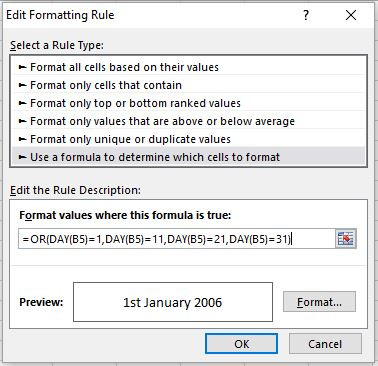 IMAGE SHOWING FIRST CONDITIONAL FORMATTING RULE