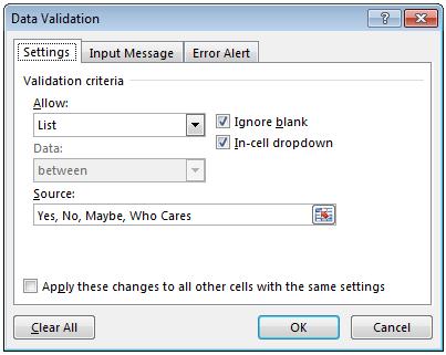 Data Validation List Options