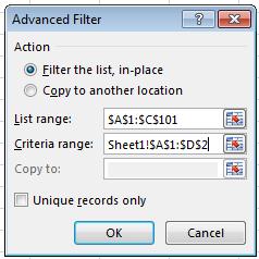 image of next advanced filter dialog box