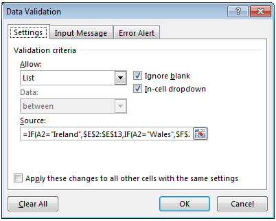 image showing data validation list rule