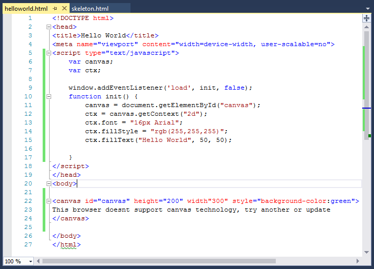 image showing canvas basics code for hello world demo