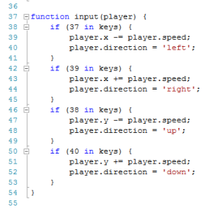 image showing the code for the input function before limiting movement to the canvas area