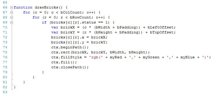 arkanoid game tutorial draw bricks function