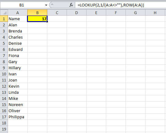image showing formula to get last row where rows have been added