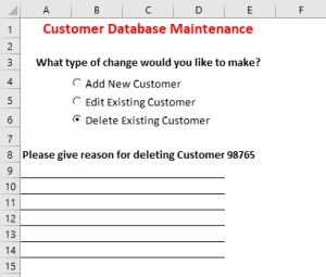 image of form after selecting delete option button