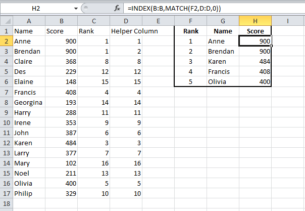 Index Match function to retrieve first second and third values for scores