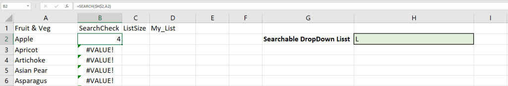 Image of the first SEARCH formula and its results