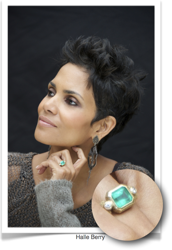 Halle Berry, emerald and diamond ring