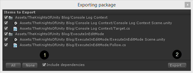 Export package window