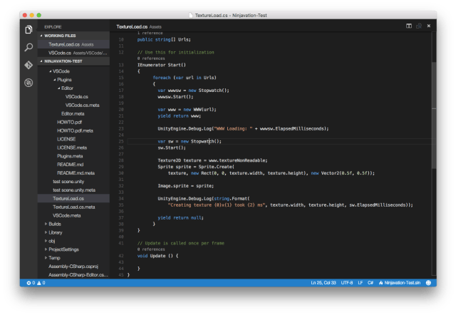 visual studio code running