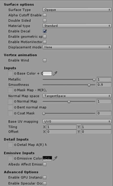 High Definition Render Pipeline Surface Options