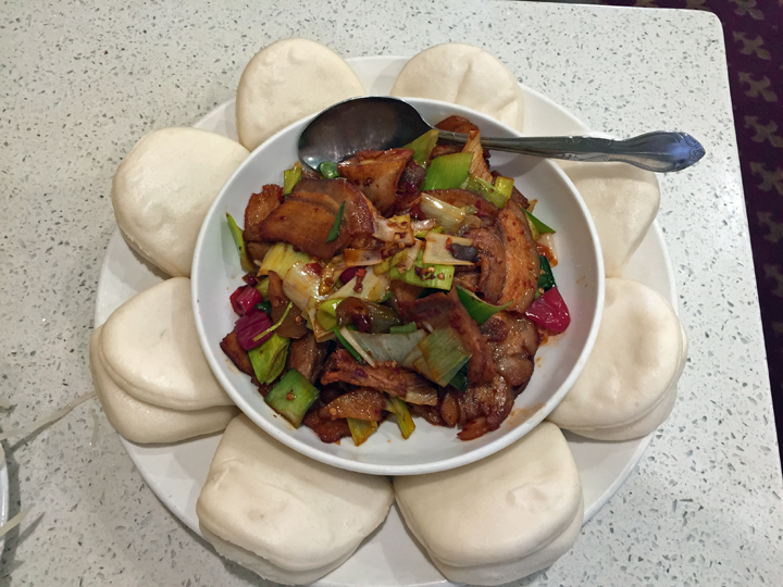 Twice-Cooked Pork: What I love is that their hui guo rou comes with fluffy bao, as it sometimes does in Chengdu