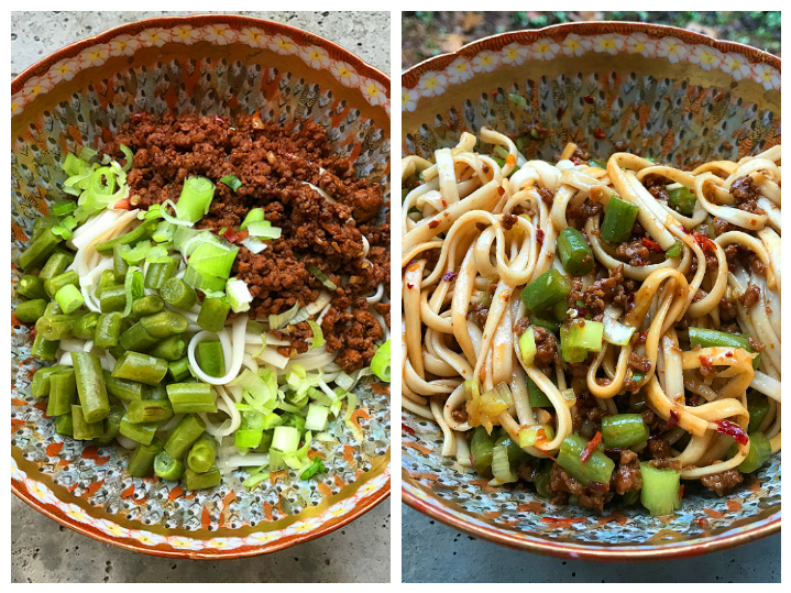 Chengdu zajiang mian with green beans