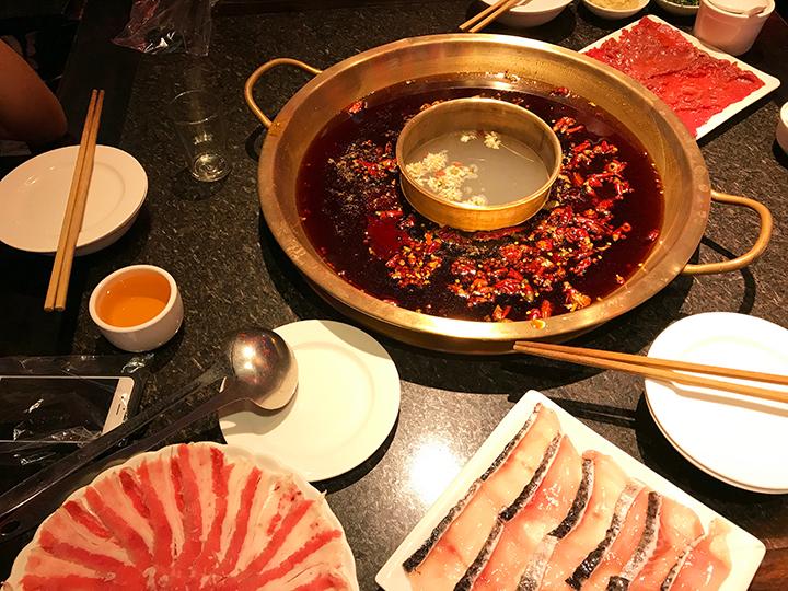 Mala hot pot (mala huo guo) in Chengdu